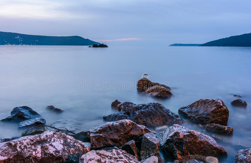 Залив Kotor, захода солнца стоковое фото rf