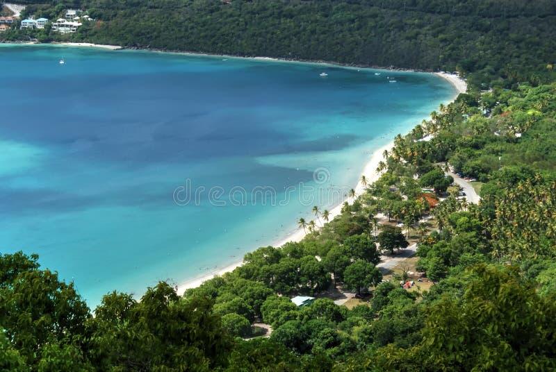 Залив Magens, St. Thomas, USVI, вид с воздуха стоковая фотография rf