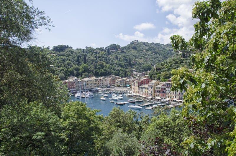 Залив Portofino от террасы стоковое фото