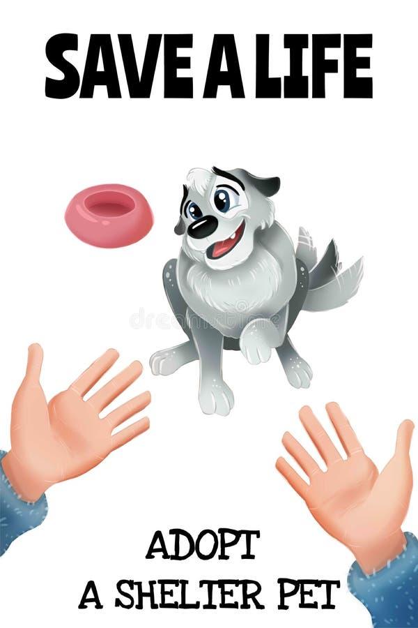 За исключением жизни Примите любимца укрытия Милая собака и плакат помечать буквами для изолированных укрытий любимца иллюстрация вектора