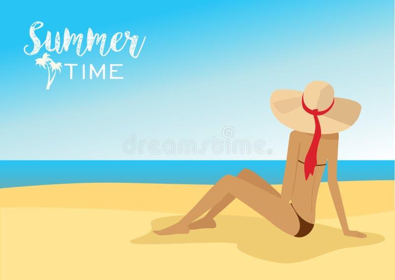Задний взгляд красивой женщины в шляпе сидя на тропическом пляже иллюстрация штока