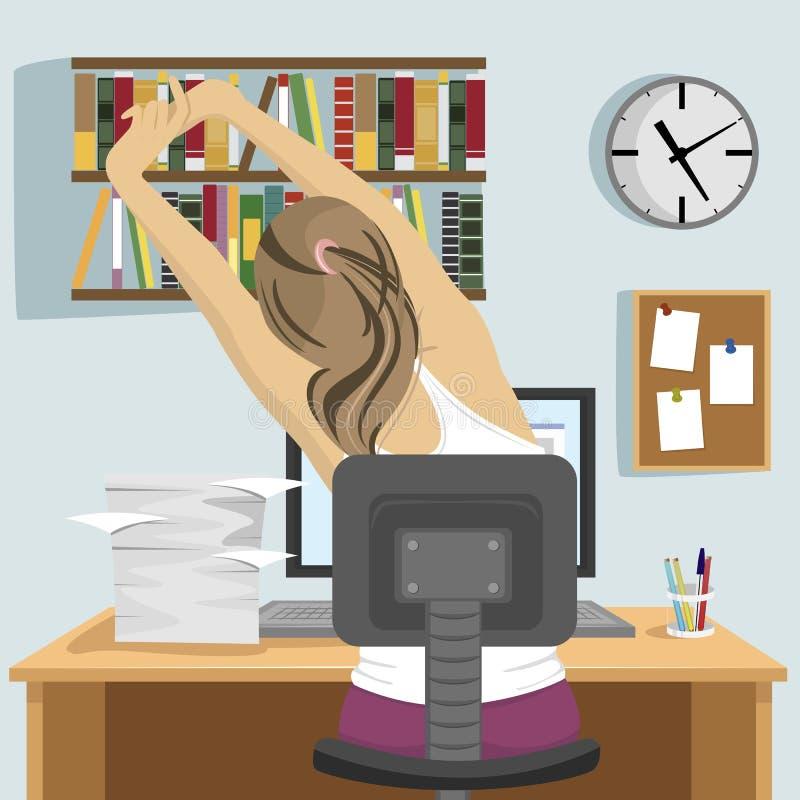 Задний взгляд молодой женщины сидя и протягивая на рабочем месте в офисе или дома иллюстрация вектора