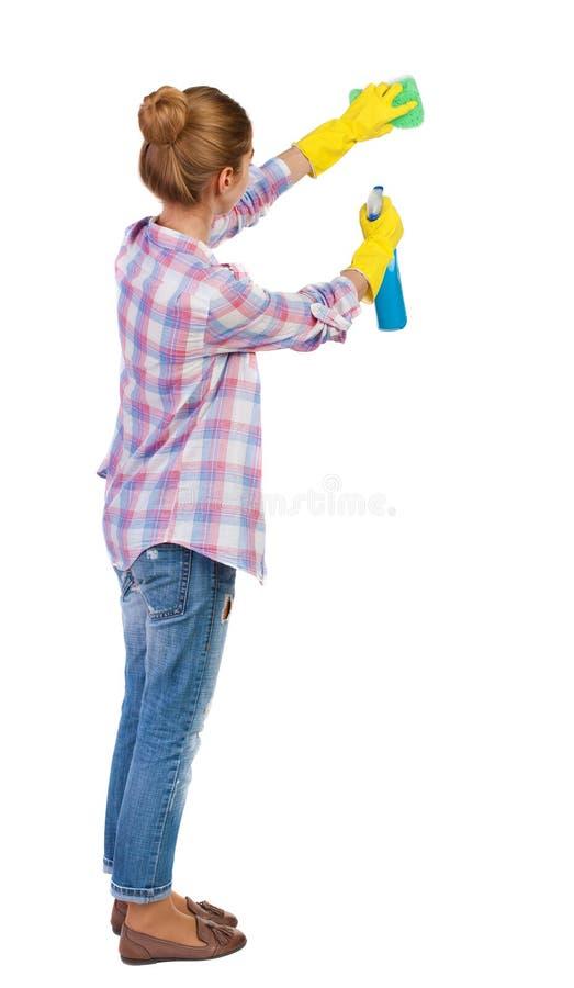 Задний взгляд домохозяйки в перчатках с губкой и тензидом стоковые фотографии rf