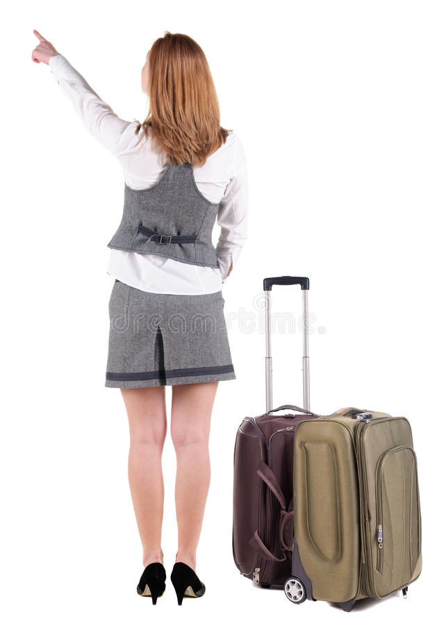 Задний взгляд указывать бизнес-леди при чемодан смотря вверх стоковое изображение rf