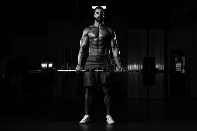 Download Задняя тренировка с штангой в фитнес-центре Стоковое Изображение - изображение насчитывающей bicentenary, телохранителя: 81814943