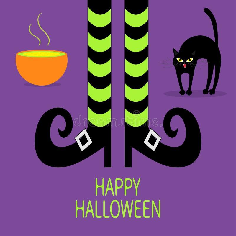 Задняя часть свода кота Зелье котла зеленое Ноги ведьмы с striped носками и ботинками halloween счастливый карточка 2007 приветст бесплатная иллюстрация