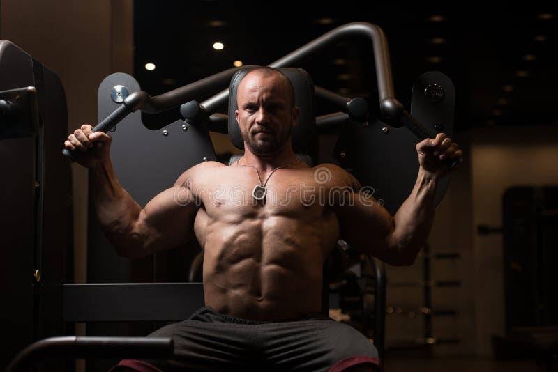 Задняя часть тренировки человека мышцы фитнеса на машине стоковые изображения