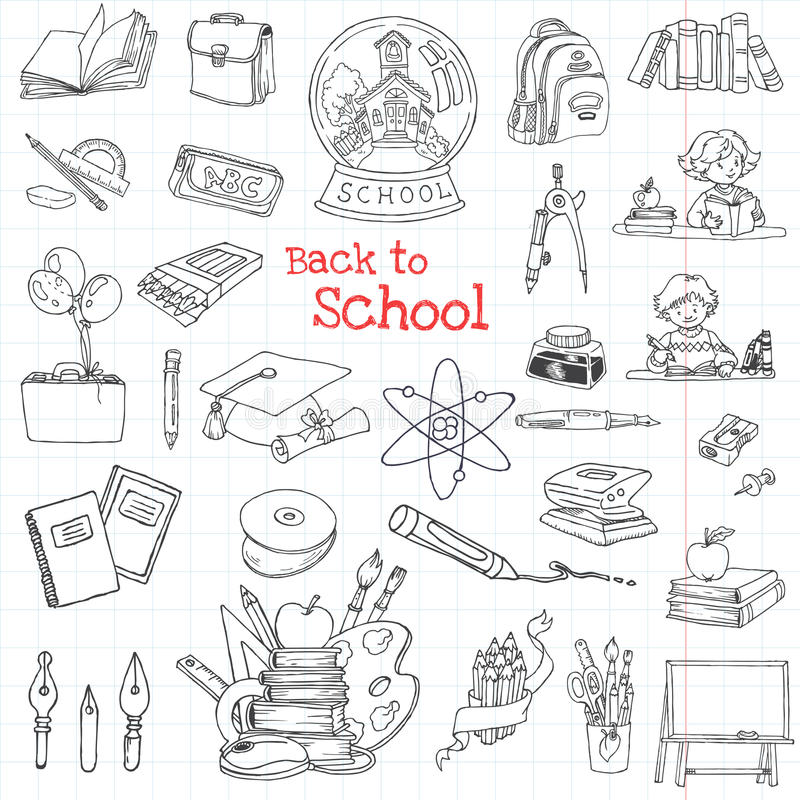 задняя часть doodles школа к иллюстрация штока