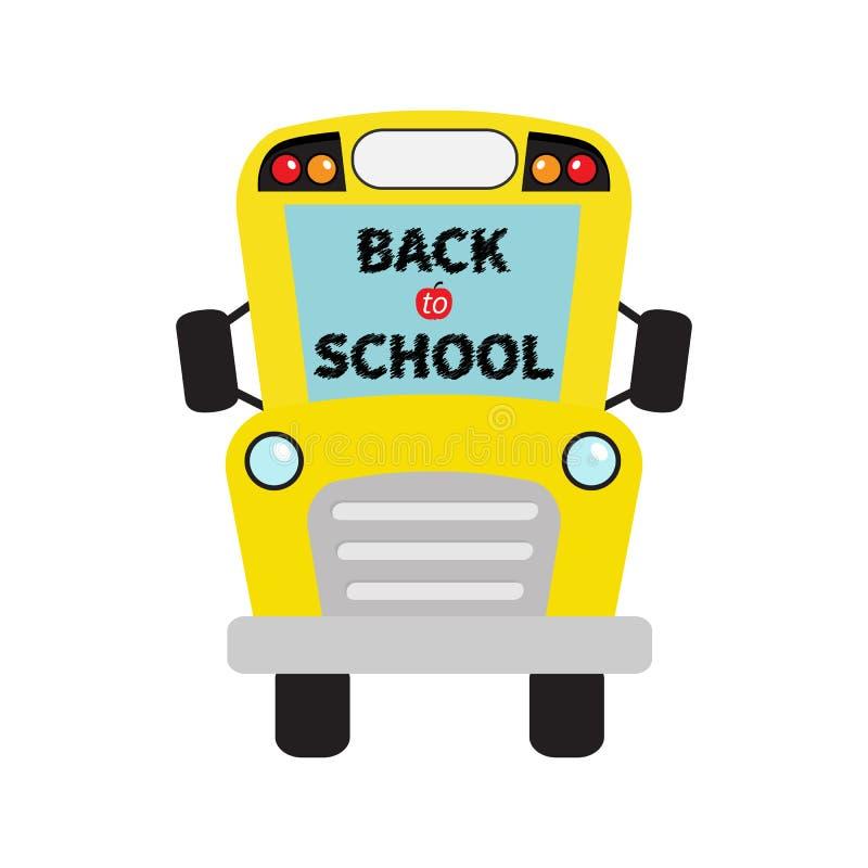 задняя школа к Желтые дети школьного автобуса Clipart шаржа иллюстрация штока