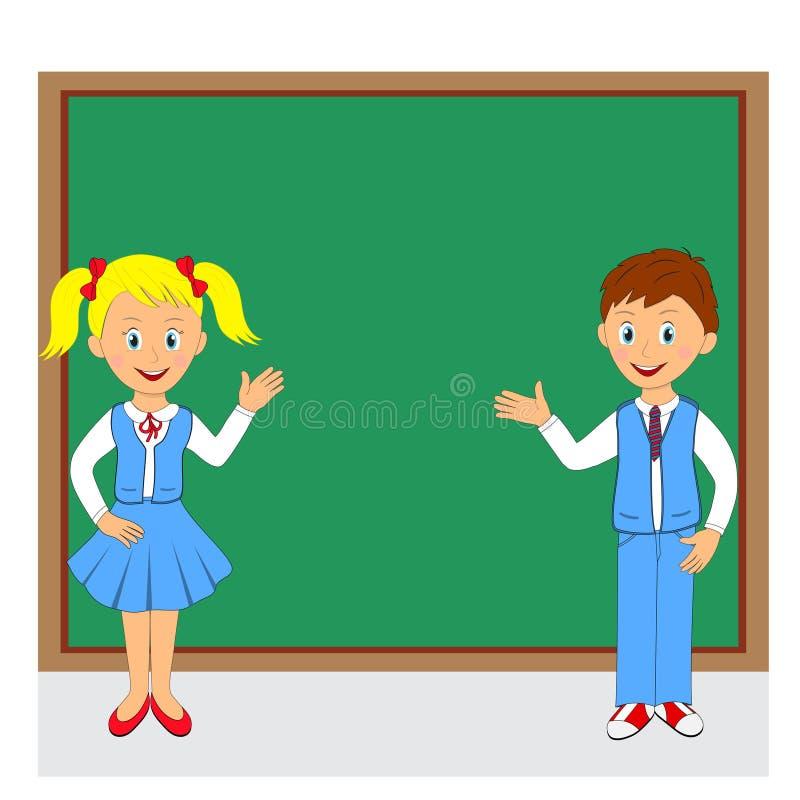 задняя школа к мальчик и девушка на предпосылке школы иллюстрация штока