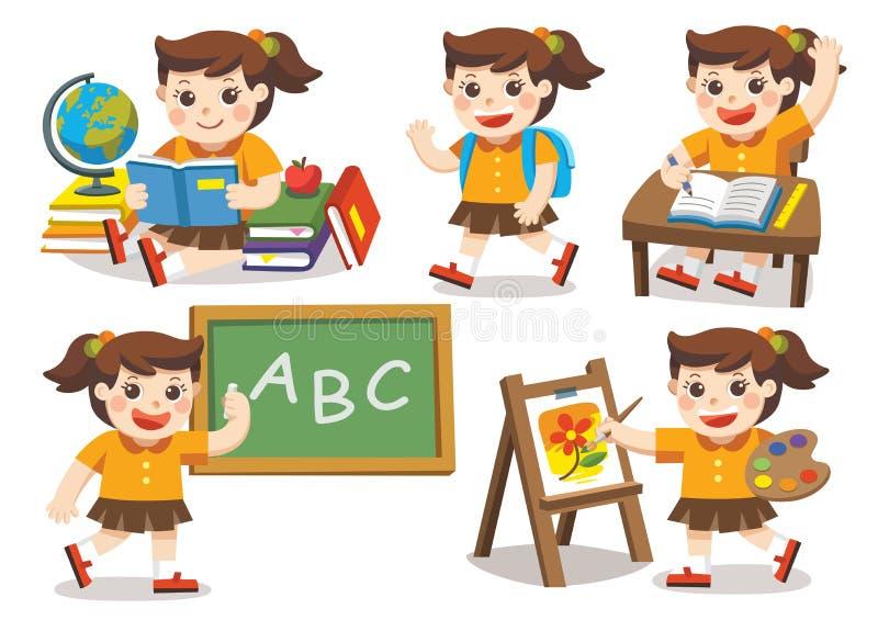 задняя школа к Милые дети имеют потеху иллюстрация вектора