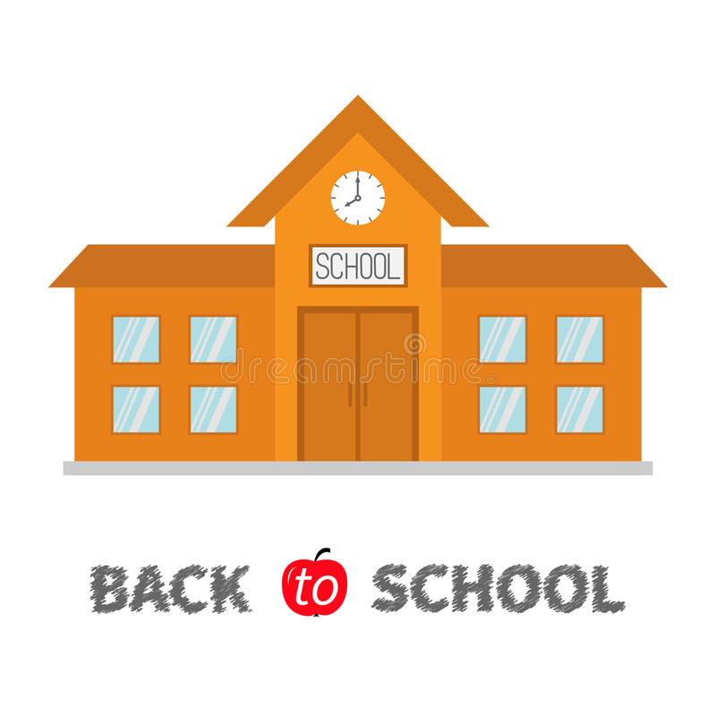 задняя школа к Школьное здание с часами и окнами Конструкция города Собрание clipart образования шаржа иллюстрация штока