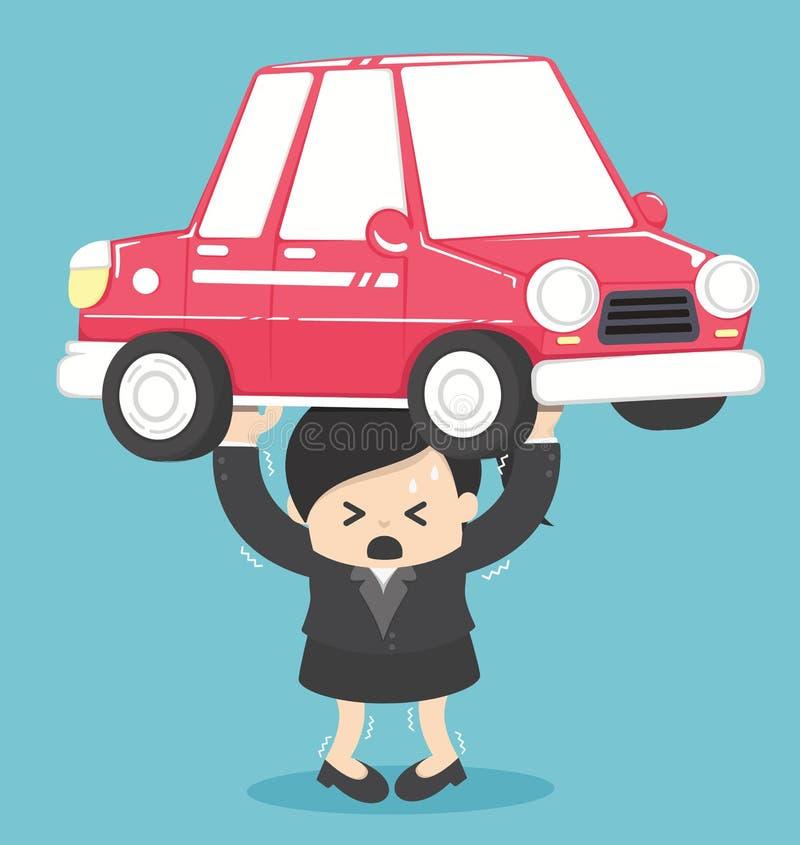Задолженность бизнес-леди концепции от автомобиля иллюстрация вектора