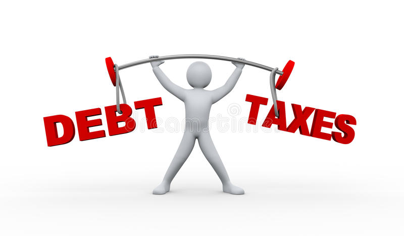 задолженность и налоги персоны 3d поднимаясь иллюстрация штока
