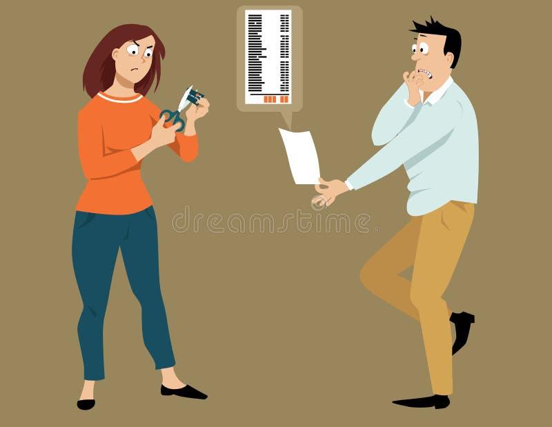 Задолженность кредитной карточки иллюстрация вектора