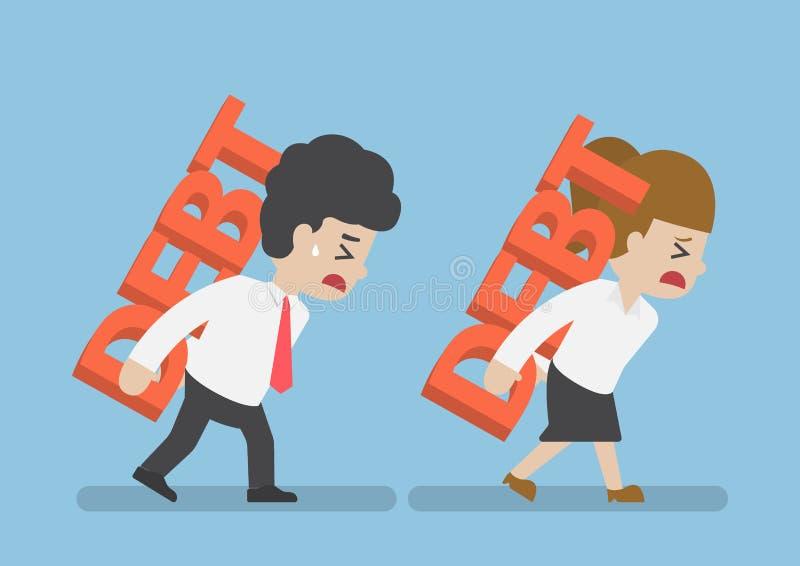 Задолженность нося бизнесмена и женщины на задней части иллюстрация вектора