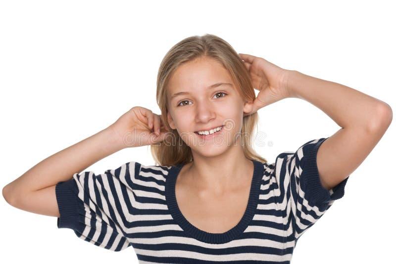 Задумчивая прелестная предназначенная для подростков девушка стоковая фотография
