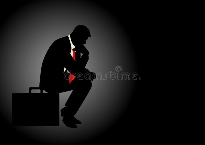 Задумчивый бизнесмен сидя на его портфеле бесплатная иллюстрация