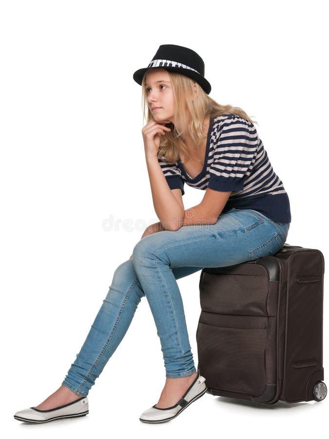 Задумчивый милый путешественник стоковые изображения rf