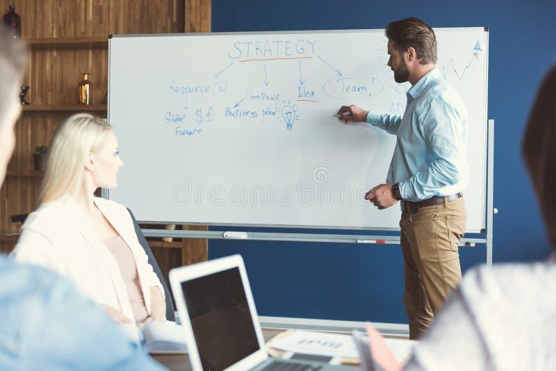 Задумчивый моложавый бородатый человек и другие сотрудники тренируя в офисе стоковая фотография