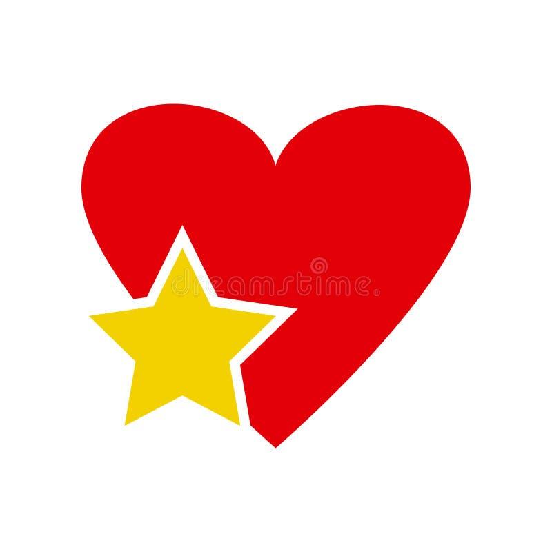 Звезда в значке сердца r иллюстрация штока