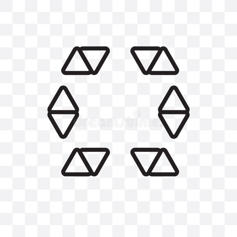 Звезда в шестиугольнике значка небольшого вектора треугольников линейного изолированного на прозрачной предпосылке, звезда в шест иллюстрация штока