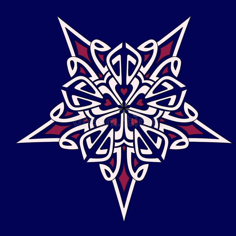 Звезда геометрии мандалы сине-бел-розовая стоковые фото