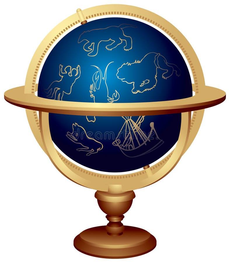 звезда глобуса иллюстрация вектора