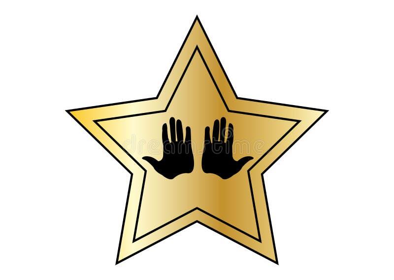 Звезда Голливуд золотая с handprints на белой предпосылке иллюстрация вектора
