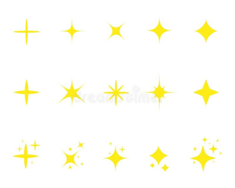 Звезда желтого цвета Мультфильм 'Золотые звезды' Набор световых фейерверков, эффект свечения, яркие взрывы Спаркл-звезда с бесплатная иллюстрация