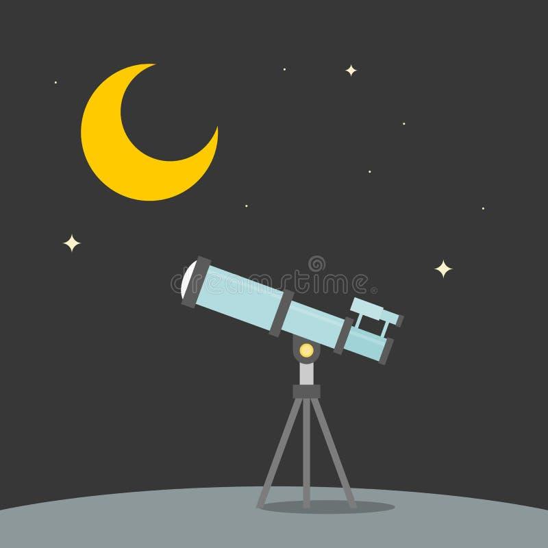 Звезда замечания с телескопом с предпосылкой луны бесплатная иллюстрация