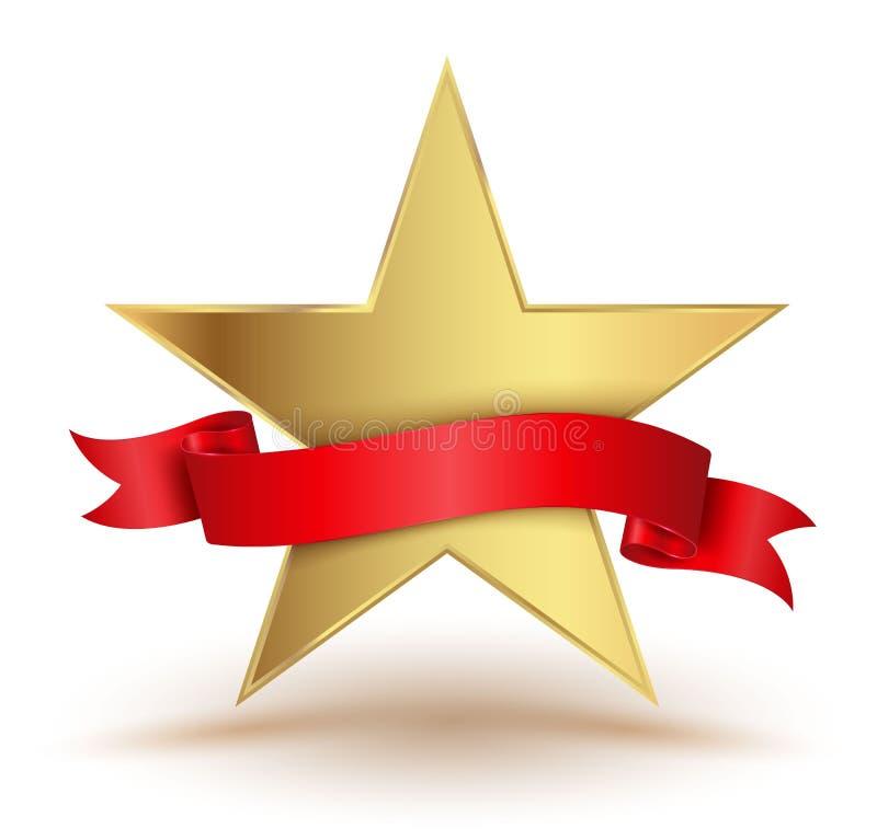 Звезда значка с красной лентой иллюстрация штока