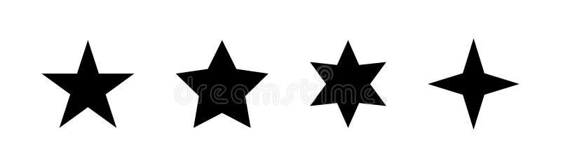 Звезда - значок вектора 5 черных звезд Комплект черных звезд иллюстрация вектора