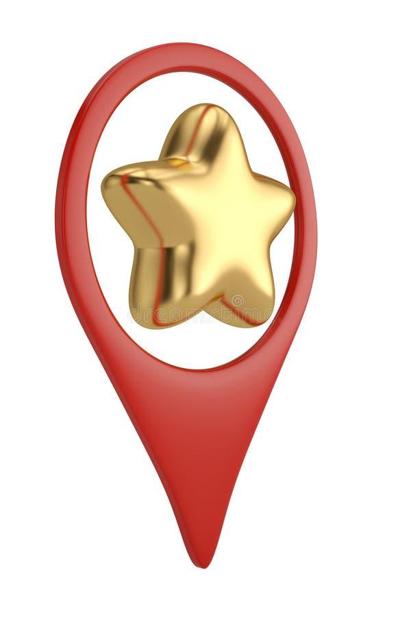 Звезда золота в значке штыря положения иллюстрация 3d бесплатная иллюстрация
