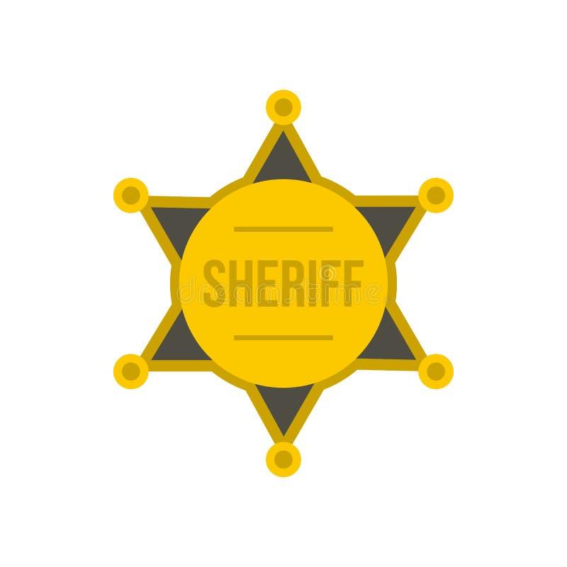 Звезда золота значка шерифа, плоского стиля иллюстрация штока
