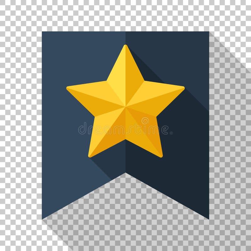 Звезда золота на значке флага в плоском стиле на прозрачной предпосылке иллюстрация штока