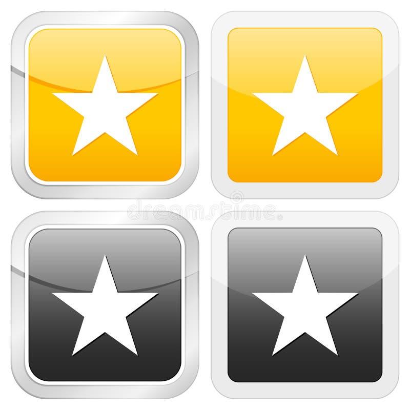звезда иконы квадратная иллюстрация штока