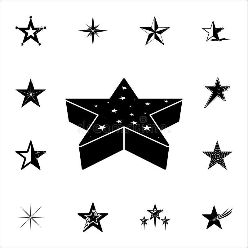 звезда иконы 3d Комплект значков звезд всеобщий для сети и черни бесплатная иллюстрация