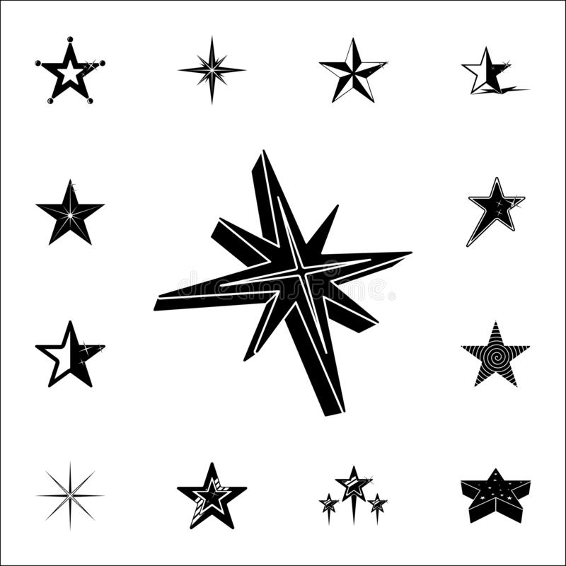 звезда иконы 3d Комплект значков звезд всеобщий для сети и черни иллюстрация вектора