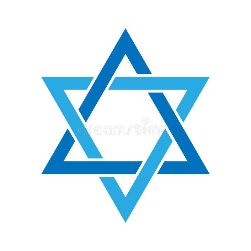 звезда иллюстрации 3d Давида Знак гексаграммы Символ еврейских идентичности и иудаизма Простая плоская голубая иллюстрация бесплатная иллюстрация
