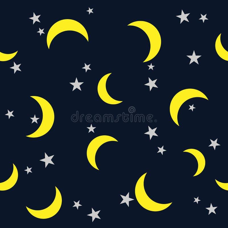 Звезда и луна картины ночи на темной предпосылке неба иллюстрация штока