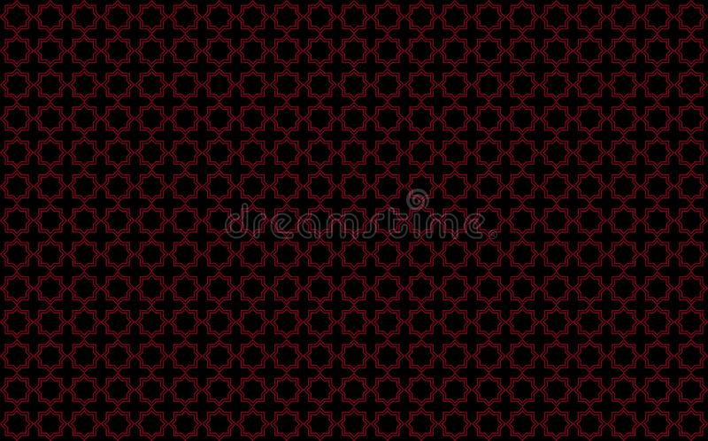 Звезда и перекрестный похожий на плитк дизайн с красными акцентами на черной предпосылке, воодушевленной морокканским tilework из бесплатная иллюстрация