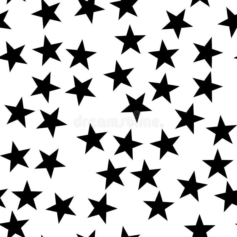звезда картины безшовная Тема ночи, космоса или рождества Плоская предпосылка вектора в черно-белом бесплатная иллюстрация