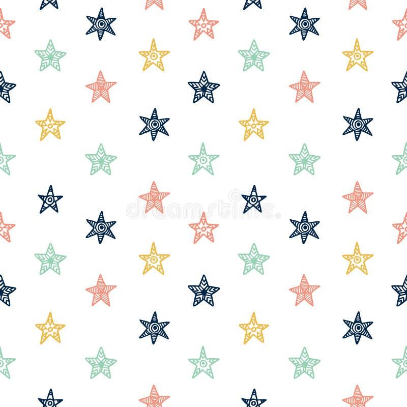 Звезда нарисованная рукой doodles безшовная картина бесплатная иллюстрация