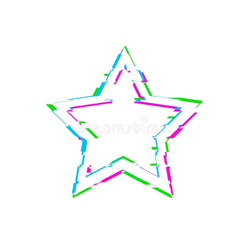 Звезда небольшого затруднения вектора белая изолированная на белых небольших затруднениях предпосылки, сини, розовых и зеленых иллюстрация штока
