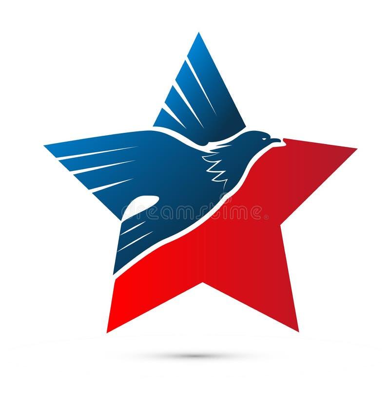 Звезда орла, гордость США американская, вектор значка иллюстрация вектора