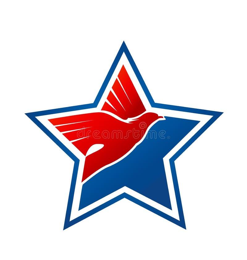 Звезда орла, гордость США американская, вектор значка иллюстрация штока