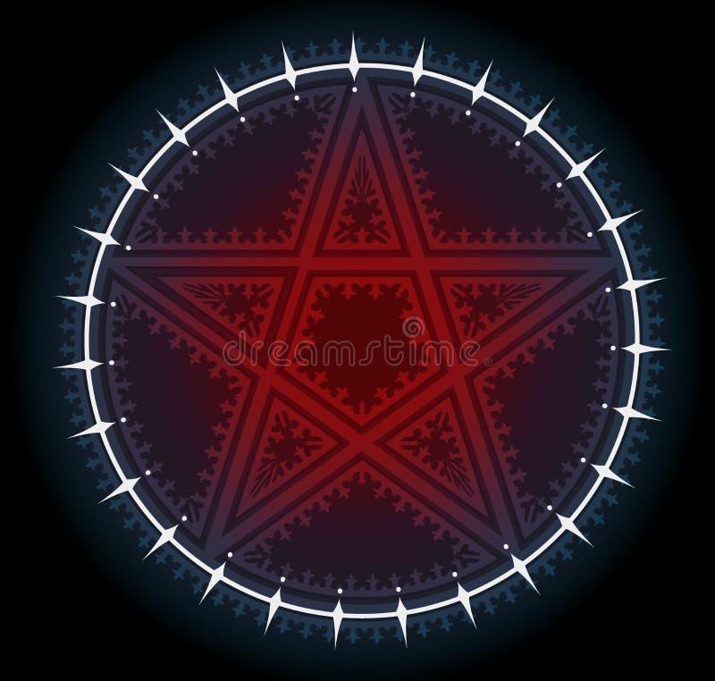 Звезда пентаграммы красного цвета 5 остроконечная с орнаментом иллюстрация вектора