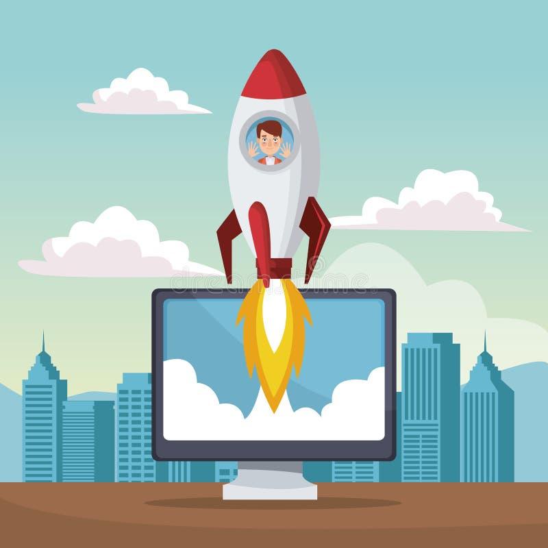 Звезда предпосылки ландшафта города вверх по бизнесмену внутрь к ракете на компьютере дисплея иллюстрация вектора