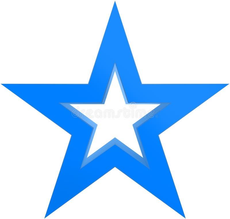 Звезда 5 пунктов звезды рождества сине- законспектированная - изолированная на белизне иллюстрация штока